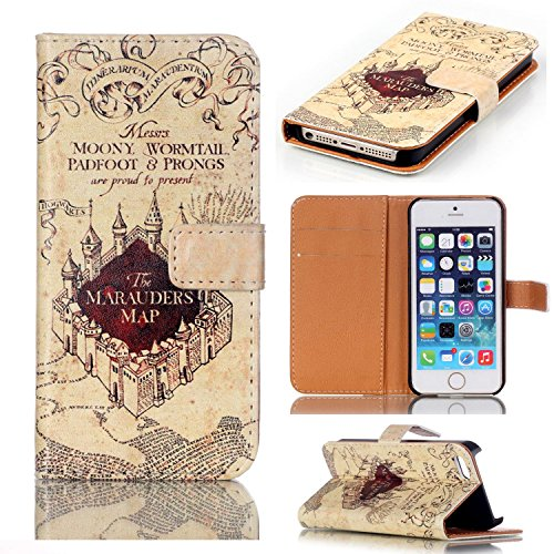 Potter Cell Phone Harry - Hogwarts Marauder's Map Pattern Slim Wallet Card Flip Stand Leather Pouch Case Cover for Apple iPhone 6/6S 4.7 inch New Arrivel- Cool as Great Xmas Gift (Shipped from US, 3-7 Days to delivery!)