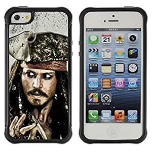 BullDog Case@ Jack Sparrow Rugged Hybrid Armor Slim Protection Case Cover Shell For iphone 5S CASE Cover ,iphone 5 5S case,iphone5S plus cover ,Cases for iphone 5 5S