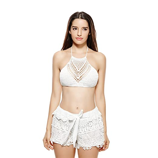 897fc5e1a4515d Image Unavailable. Image not available for. Color  Anself Sexy Women Crop  Top Crochet Boho Beach Bikini Bralette Halter ...