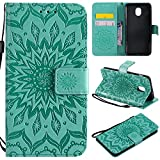 Galalxy J3 2018 Wallet Case,SMYTU Premium Emboss Sunflower Pattern Flip Wallet Shell PU Leather Magnetic Cover Skin with Wrist Strap Case Samsung Galalxy J3 2018 (Green) Review