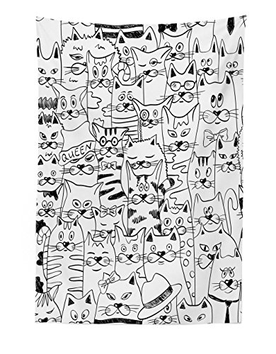 Lunarable Psychedelic Tapestry, Cats with Costumes Bow Ties Humor Kitty Animal Childish Sketch Illustration, Fabric Wall Hanging Decor for Bedroom Living Room Dorm, 30 W X 45 L inches, Black White -