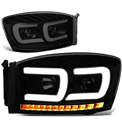 DNA Motoring HL-HPL-RM06-G2-BK-SM-CL1 Pair LED DRL+Sequential Chasing Turn Signal Projector Headlight: Automotive