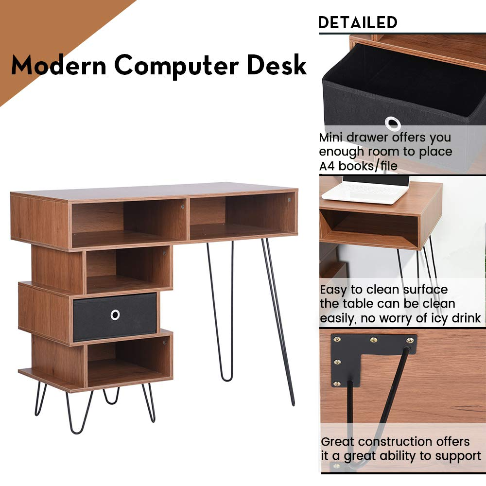 Aingoo Writing Desk, Modern Computer Desk with Bookshelf Efficient Space Storage Workstation by Lingoes (Image #2)