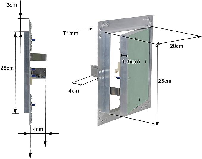 Puerta revisión Trampilla inspección marco aluminio 20x25cm Panel ...