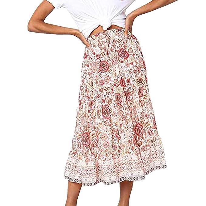 LOVELYOU Vestiti Donna Estivi Eleganti Vintage Vestito in Pizzo Ginocchio Stampa/A-Line/Elegante/Spalle Scoperte Ruffles/Cerimonia Cocktail Partito Abito da Sera