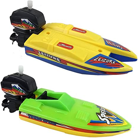 Speed Boat Ship Toy For Toddler Kids Bath Tub Swimming Pool Beach Clockwork Boat