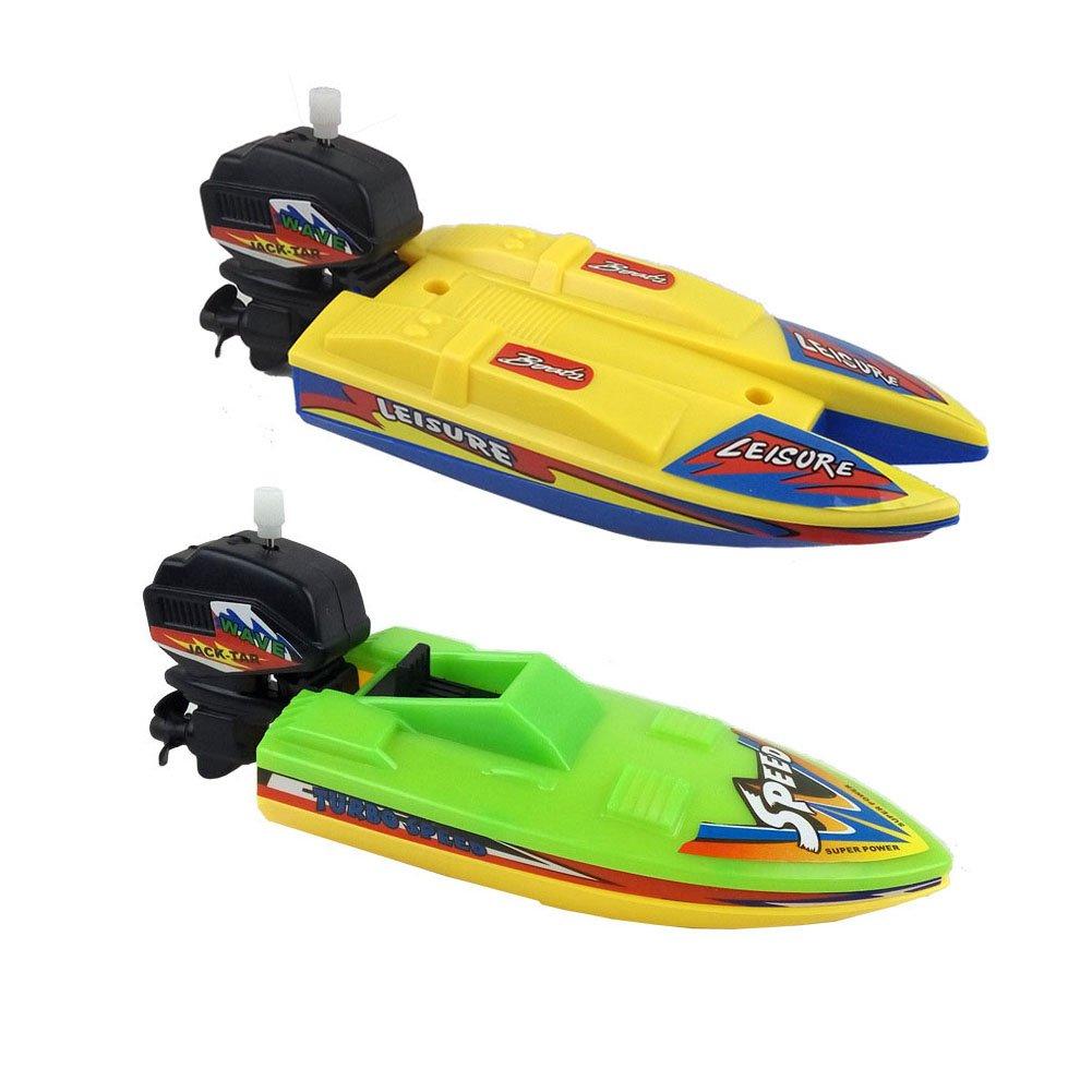 Amazon.com: Jiabetterniu 2 Pcs Swimming Boat Wind Up Bath Toys ...
