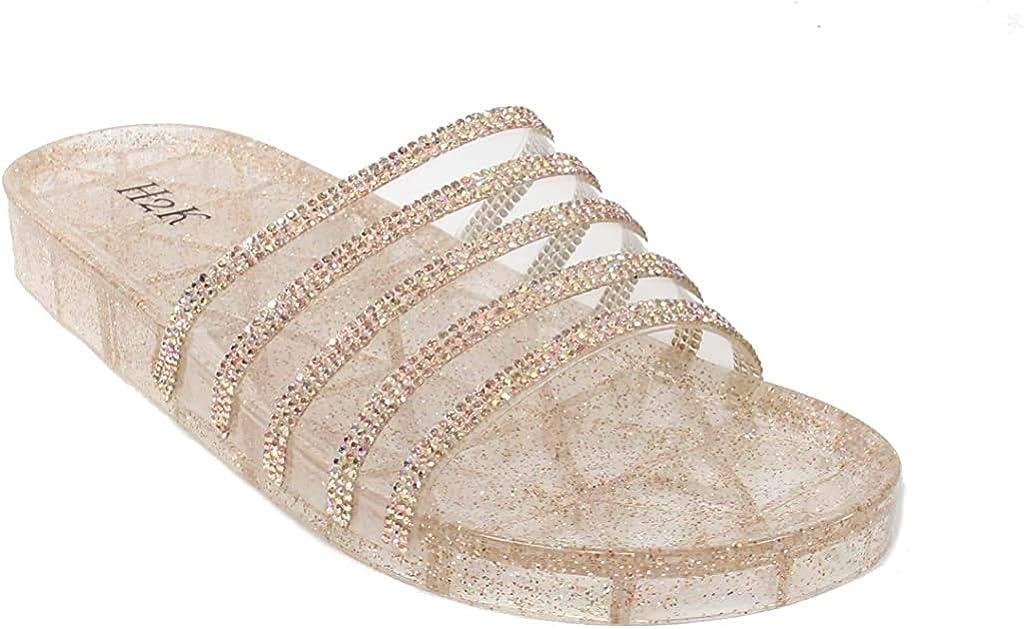 H2K Womens Jelly Glitter Summer Slide Sandals Flip Flops (Adults)