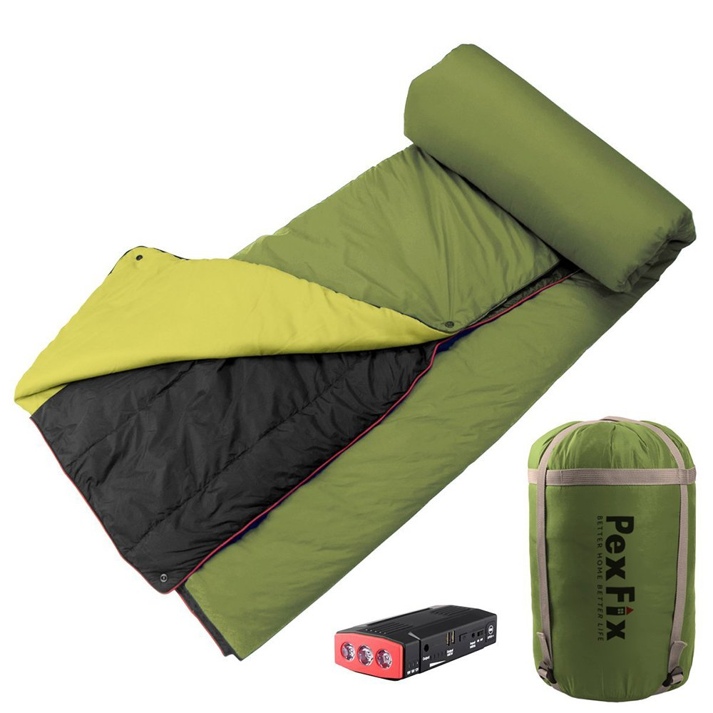 All-in-1 Camping Blanket, PexFix Lightweight Powered Heated Blanket with LED Power Bank for Outdoors,Green