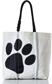 product image for Sea Bags Recycled Sail Cloth Paw Print Tote Medium Black
