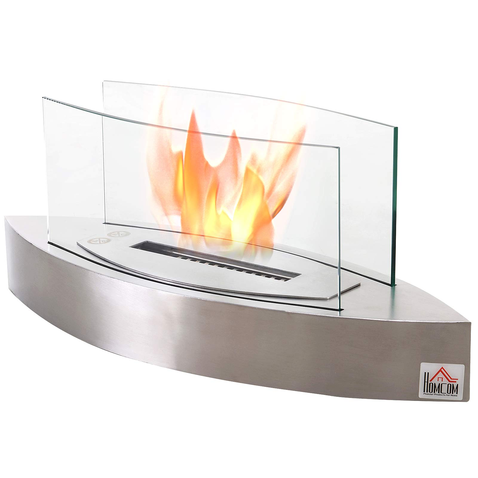 HOMCOM Portable Tabletop Ventless Bio Ethanol Fireplace Glass - Stainless Steel by HOMCOM