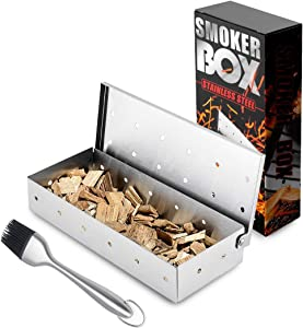 DZRZVD Wood Chip Smoker Box, Heavy Duty Stainless Steel Smoking Box for Grilling Barbecue Food Cooking - C