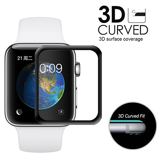 cheap for discount 1bbab 4e038 Farred Apple Watch [42mm] 3D Curved Tempered Glass Screen Protector with  Edge to Edge Coverage Anti-Scratch Cover Guard Premium HD Shield for Apple  ...