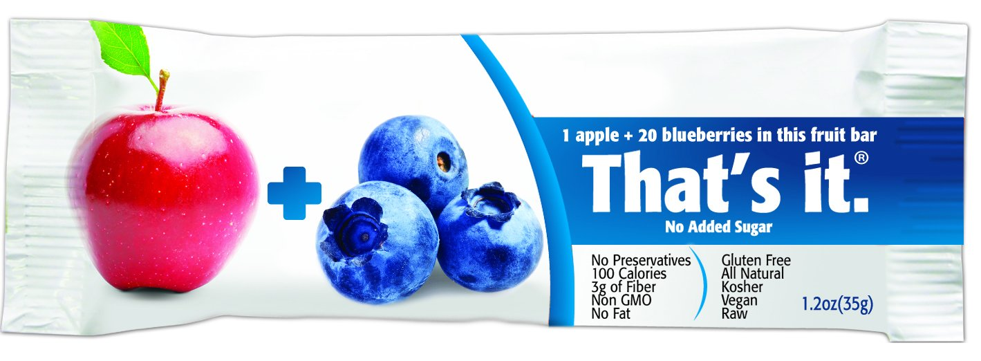 That's It Apple Blueberry Snack Bar Gluten Free/Fat Free 1.2 oz, Pack of 72