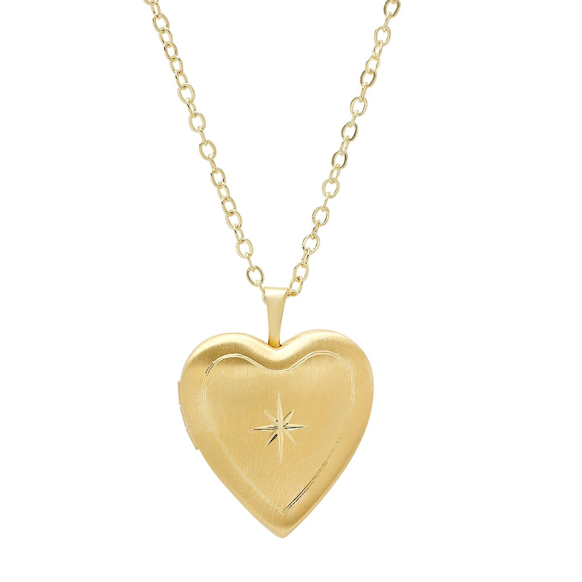 Pori Jewelers 925 Sterling Silver Diamond Cut Star Heart Locket Necklace in Diamond Cut 18'' chain - Choose Your Color (Gold)