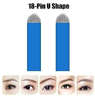 9b45ce4412b2e Aozzy 18 alfiler 50Pcs U Forma Kit de Microblading Permanente Maquillaje  Manual Cejas Tatuaje Agujas Curvas