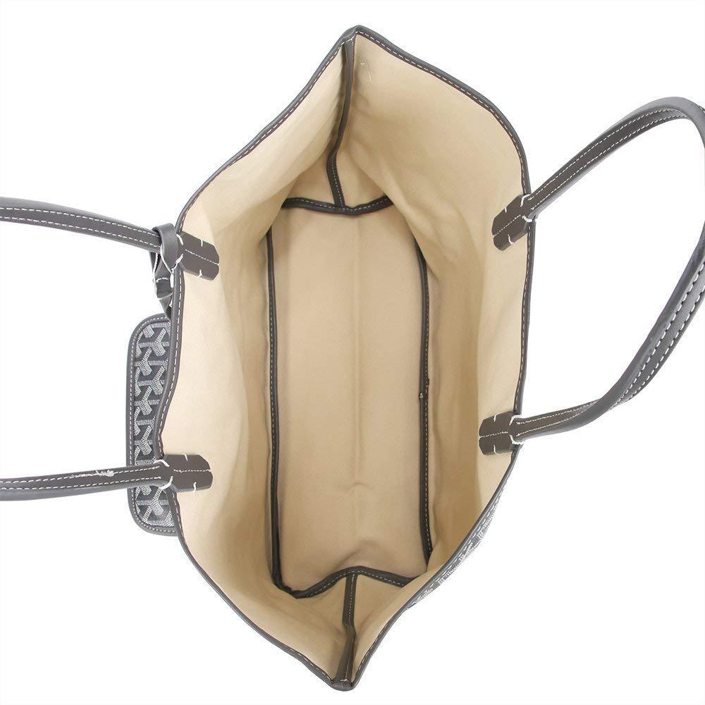 Stylesty Fashion Shopping PU Tote Bag, Designer Shoulder Handbags with Key Ring (Large, Grey) by Stylesty (Image #5)