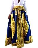 Women's African Printed Pleated Maxi Skirt High Waist A Line Dress