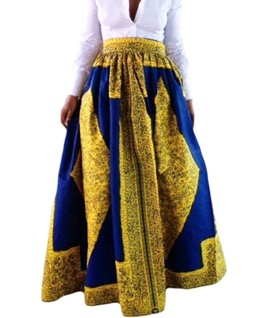 Women's African Printed Pleated Maxi Dress High Waist A Line Skirt Yellow Large