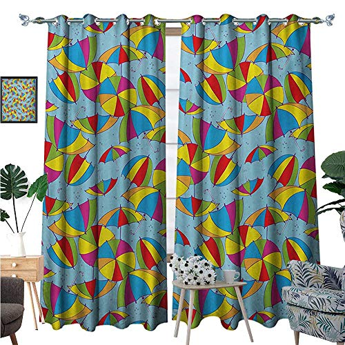 (BlountDecor Colorful Window Curtain Drape Cute Umbrellas Rainbow Colors Romance Sun Shades Fall Protection Kid Nursery Theme Decorative Curtains for Living Room W108 x L96 Multicolor)