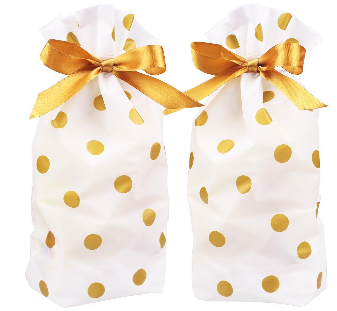 Amazon.com: Zealax 15pcs Treat Bags Gold Polka Dot Print Drawstring ...