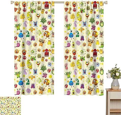 Cortinas opacas para niños para puerta corredera de cristal para habitación de niños, flores ornamentadas retro en estilo de dibujo pequeños corazones lindos cantando pájaros Lovely Garden Heat Block Patio cortina (multicolor):