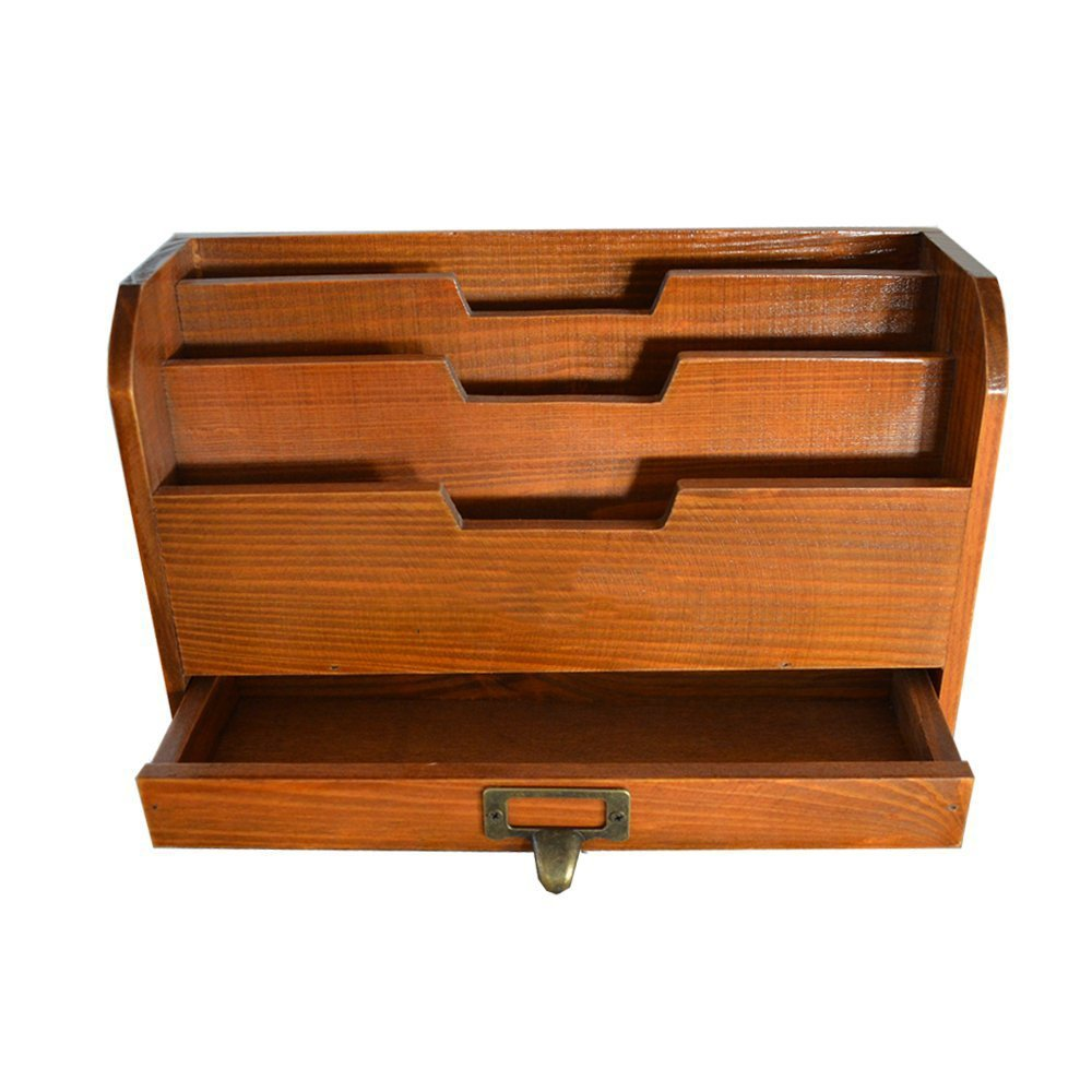 Retro Wooden Desktop,3 Compartments with a Drawer / File Organizer / Mail Sorter / Pencil Holder / Postcards Storage / Desk Organizer,11.4 x 6.7 x 4.3 inches,Brown Genenic