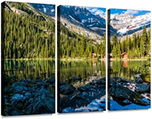 BELISIIS Lakefront Cabins on Lake O'Hara Wall Artwork Exclusive Photography Vintage Abstract Paintings Print on Canvas Home Decor Wall Art 3 Panels Framed Ready to Hang