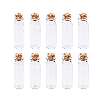 PandaHall 10pcs Abalorio Contenedores botellas de cristal transparentes, con tapabocas, 22x62mm: Amazon.es: Hogar