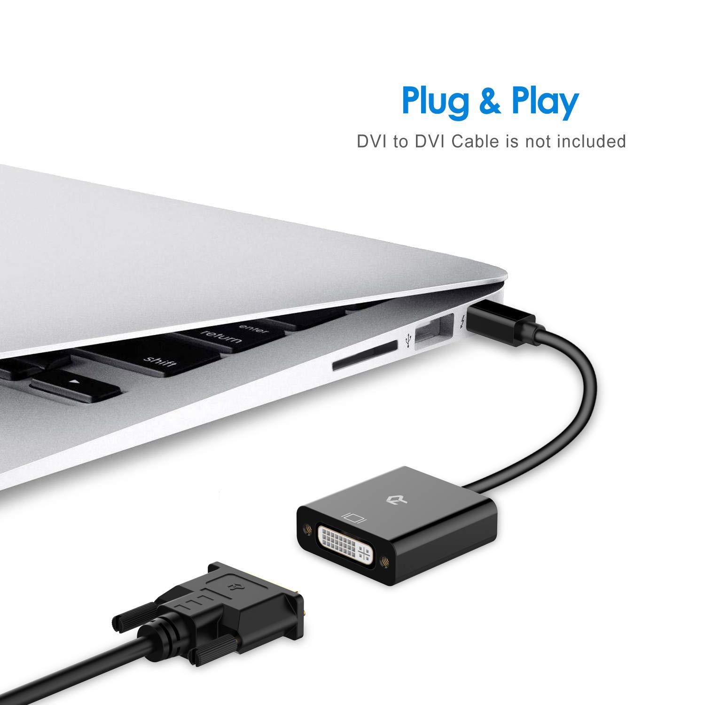 to DVI Male to Female Adapter Converter Rankie Mini DP to DVI Gold 1080P Plated Mini DisplayPort Black Thunderbolt Port Compatible