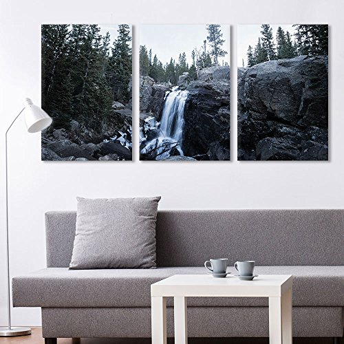 3 Panel Landscape Waterfall in Rocky Mountain x 3 Panels