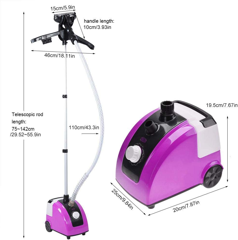 1.7L//58 fl oz Professional Heavy Duty 1700W Powerful Hanging Clothes Fabric Steamer Standing Steamer with Fabric Brush and Garment Hanger Wrinkle Remove for Home Office Use Garment Steamer Purple