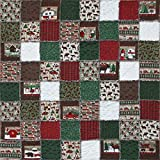 Exclusive Woodland Retreat Flannel Snuggler ''Rag'' Quilt Kit - Fun and Rustic Outdoor Christmas Scenes - Good Beginner Quilt