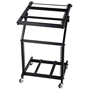 AW DJ Rack Mount Studio Mixer Stand Rolling Stage Cart Adjustable Music Equipment Party Show 9U