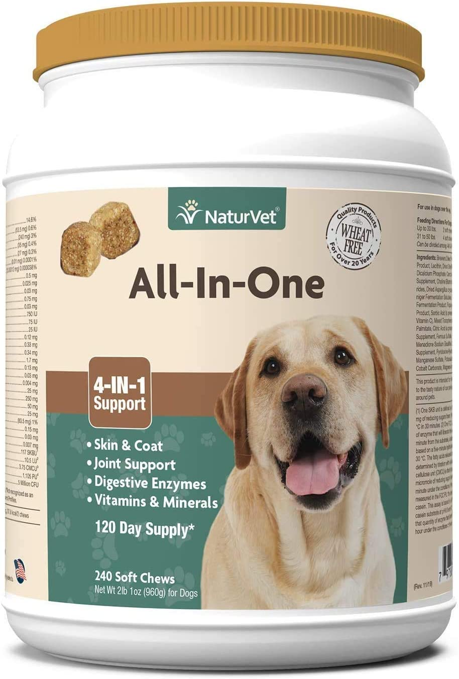 NaturVet All-in-One Dog Supplement - for Joint Support, Digestion, Skin, Coat Care – Dog Vitamins, Minerals, Omega-3, 6, 9 – Wheat-Free Supplements for Dogs – 240 Soft Chews