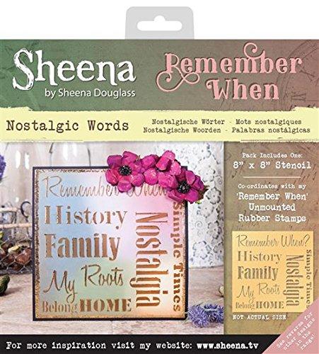 Sheena Douglass stencil Remember when–Nostalgic parole, trasparente Crafter' s Companion SD-STEN-RW-WORD