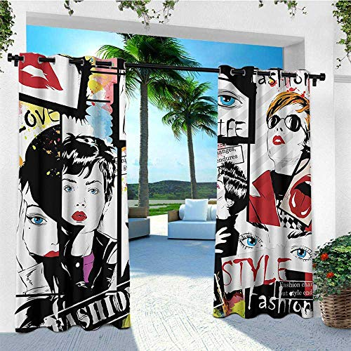 leinuoyi Teen Girls, Outdoor Curtain Modern, Fashion Girl in Sketch Style Illustration Glamour Modern Model Portrait Art Print, for Patio Waterproof W72 x L108 Inch Red Black