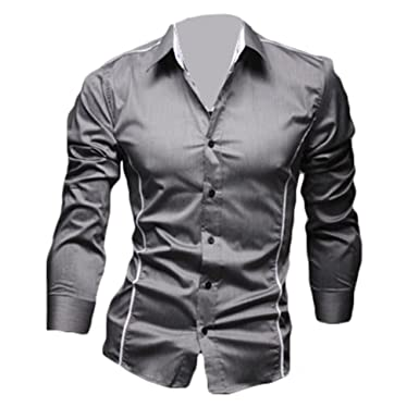 0a14f6d49ac Juleya Shirts Men Slim Fit Formal Shirt Long Sleeve Casual Top Solid Color  Tops Soft Comfortable Modern Shirt  Amazon.co.uk  Clothing