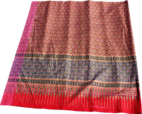 RaanPahMuang Sukhothai Batik Fabric in Traditional Thai Floral Print 70x40 inch, -