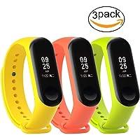 Correa de Repuesto para Xiaomi Mi Band 3 (Pack 3: Amarillo, Naranja y Verde)