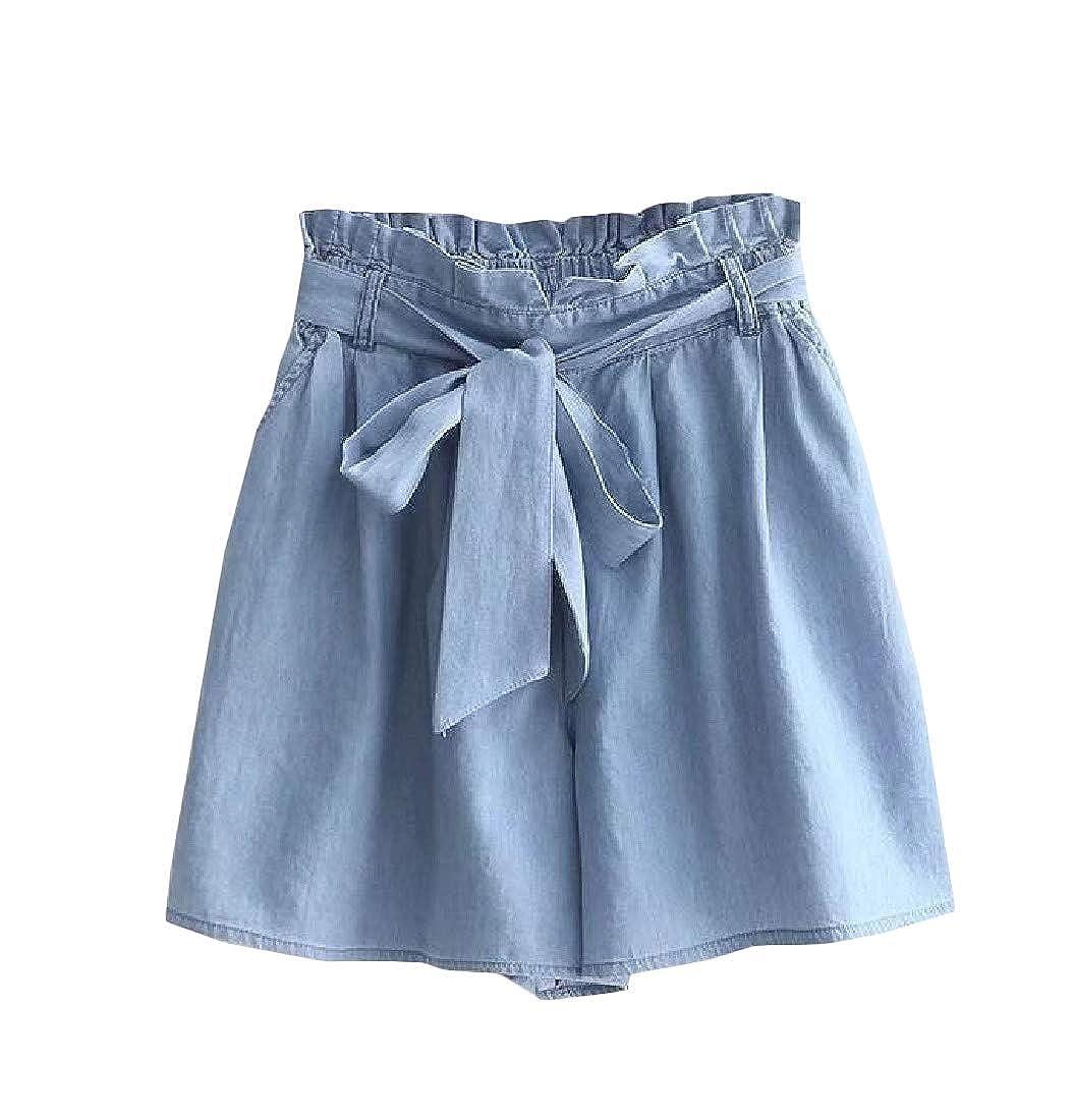 Etecredpow Womens Solid Paper Bag Culottes Elastic Waist Shorts