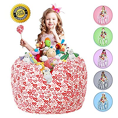 "WEKAPO Stuffed Animal Storage Bean Bag Chair | 38"" Extra Large | 48"" Quality YKK Zipper | Premium Cotton Canvas …"
