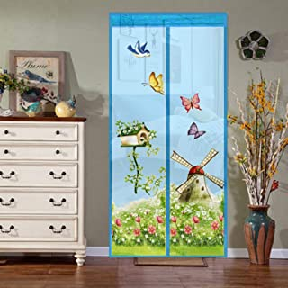 Lsgepavilion Fashion Windmill Butterfly Pattern Door Curtain Anti Mosquito Summer Mesh Net Blue S