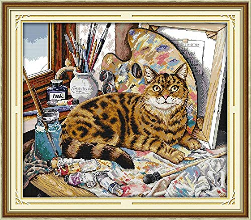 (Cross Stitch Stamped Kits Cross-Stitching Pattern for Home Decor, 14CT Pre-Printed Fabric Embroidery Crafts Needlepoint Kit Cat and Oil Painting)