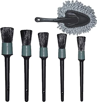 eFuncar Car Duster Exterior Interior Use Dashboard Duster Cleaning Dirt with an Auto Detailing Brush Set of Boars Hair for Wheels Leather Emblems Air Vents A Gray Microfiber Cloth Pack of 5