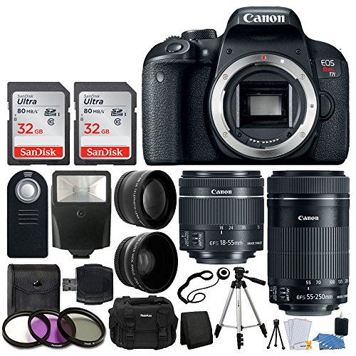 Cheap Canon EOS Rebel T7i Digital SLR Camera + EF-S 18-55mm is STM Lens + EF-S 55-250mm is STM Lens + Wide Angle Lens & 2X Telephoto Lens + 64GB Memory Card + Quality Tripod – Complete Accessory Bundle