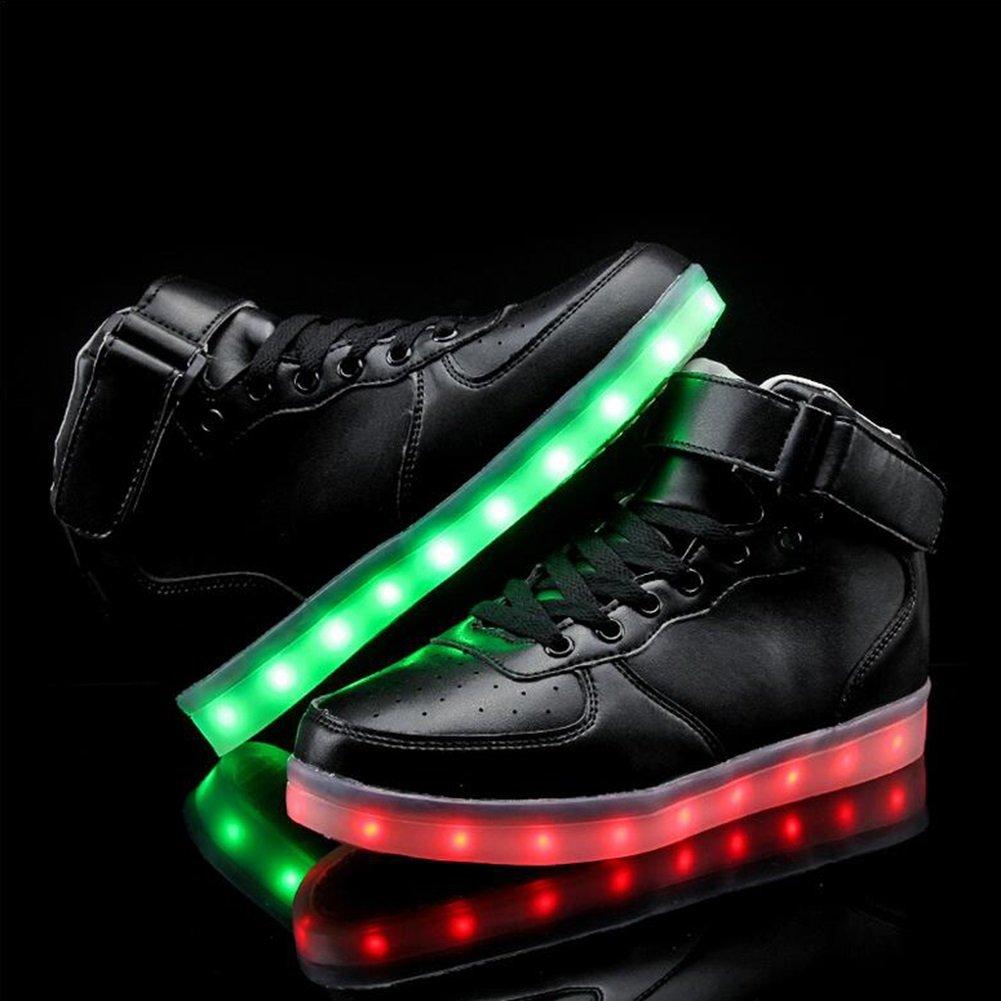Onfly new LED Couples Chaussures 7 Couleurs Unisexe Hommes Femmes Avec USB Chargable Pour Thanksgiving Jour Saint Valentin Noël Hallowen Cadeau Avec eu size (Couleur : 4, Taille : 44)
