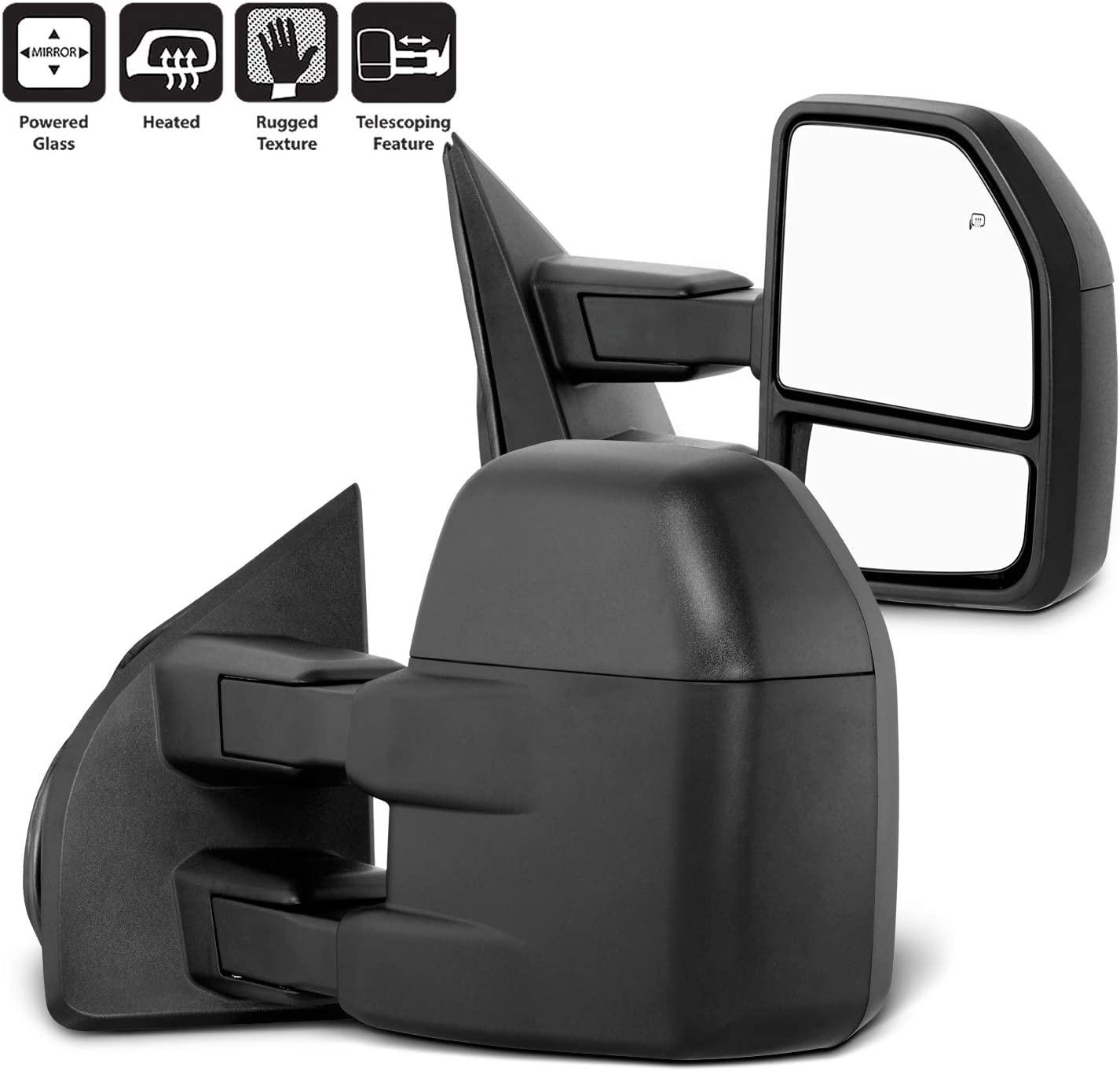 AERDM Towing Mirrors Manual Operated Textured Black Telescoping fit for 2007-2013 Chevy//GMC Silverado//Sierra Exterior Accessories Mirrors