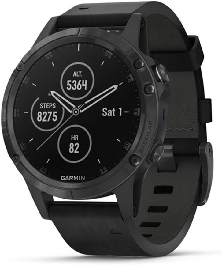 Garmin fēnix 5 Plus, Premium Multisport GPS Smartwatch, features Color Topo Maps, Heart Rate Monitoring, Music and Pay, Black with Leather Band, Model:010-01988-06