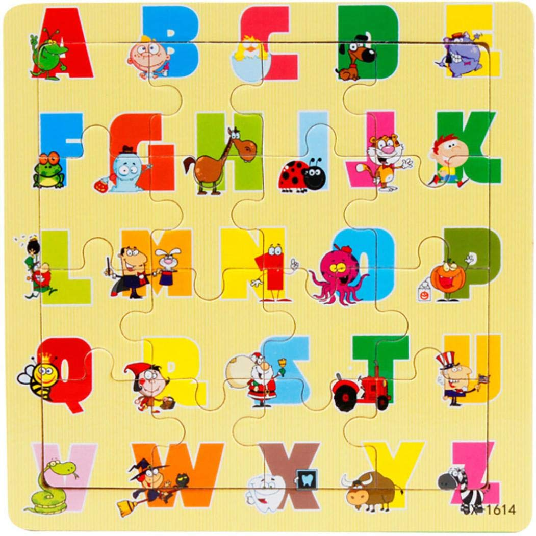 Gbell 木製パズル 幼稚園幼児用 ジグソーボード 知育玩具 ギフト 1~3歳の赤ちゃん 女の子 男の子 子供 車 アルファベットファイター 電車 ライオン 飛行機 バルーンパズル B07G75BXSG G G